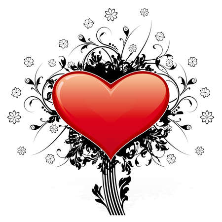 Abstract Valentines Day Heart with floral decoration like tree Vector