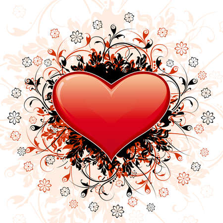 Valentines Day Heart with floral decoration and flowers