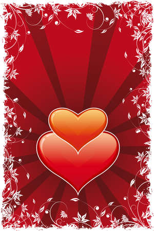 Abstract Valentines Day Heart with rays and flowers Vector