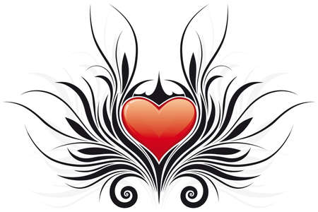 Abstract Valentines Day Heart with floral elements Vector