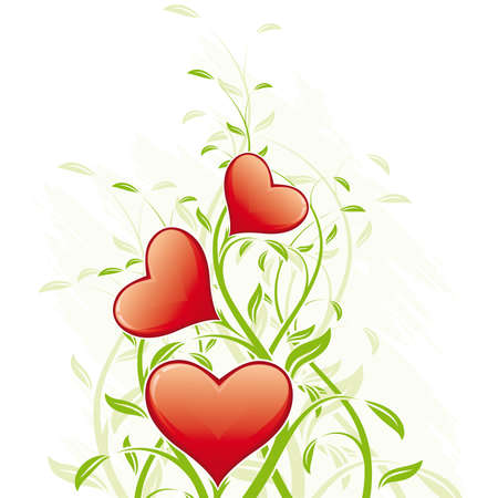 Valentines Day Heart with floral decoration on white Vector