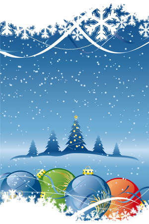 Vector Abstract Background with Christmas tree and balls Illustration