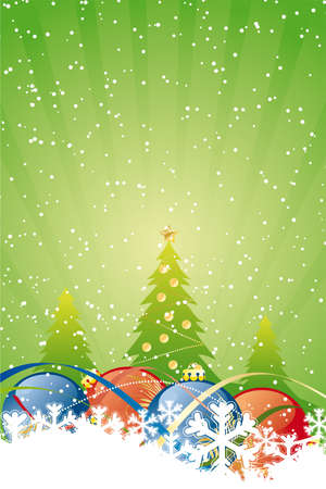 Vector Abstract Background with Christmas balls trees and decoration