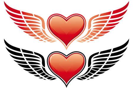 corazon con alas: D�a de San Valent�n Coraz�n con alas aisladas en blanco Vectores