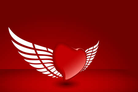 Heart with wing on red background for your design Vector