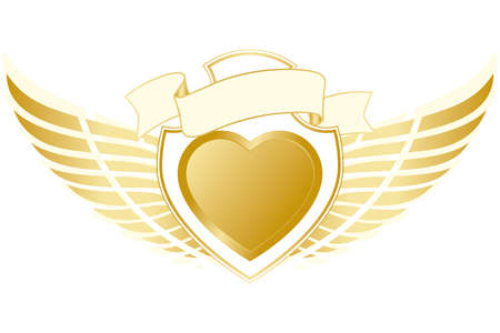 Valentines Day Heart with wing isolated on white Vector