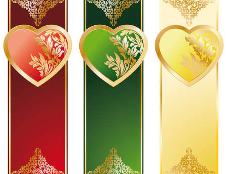 The Valentines Day Heart banners in three color Vector