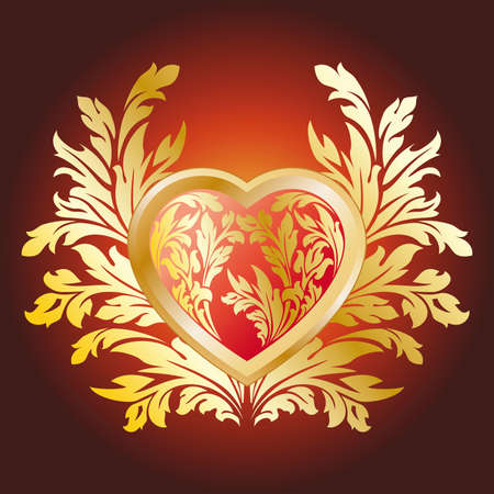Abstract Stylized Valentines Day Heart with florals Vector