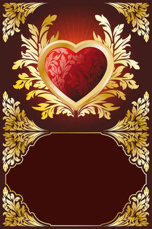 Abstract Stylized Gold Valentines Day Heart with florals Vector