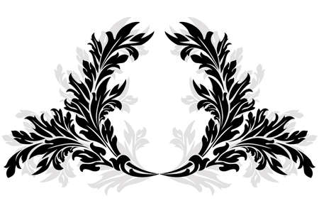 laurel leaf: Abstract ancient floral Garland isolated on white Illustration