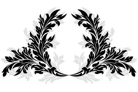 laurel leaf: Resumen antigua florales Garland aislados en blanco Vectores