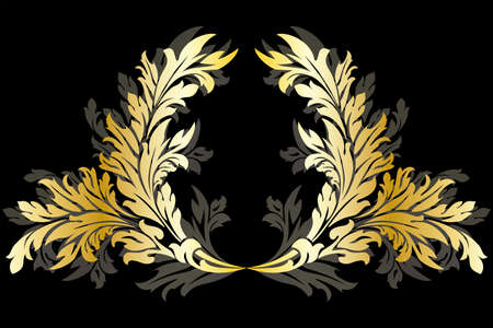 laurel leaf: Abstract ancient floral Garland isolated on black