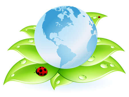 planet Earth blue and leaves isolated on white Illustration