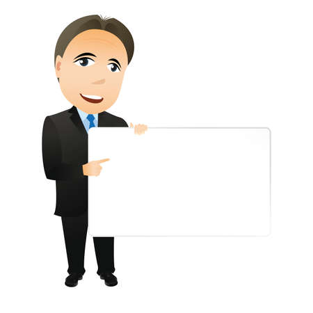 owning: Businessman with empty board. Abstract business concept.
