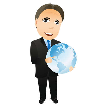 void: Businessman with Globe in hand. Abstract business concept. Illustration