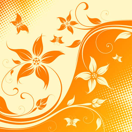 Abstract Floral Background with butterfly. Vector illustration. Abstract Pattern. Vector