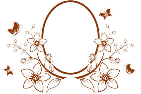 vector flower: Vector flower frame with butterfly isolated on white