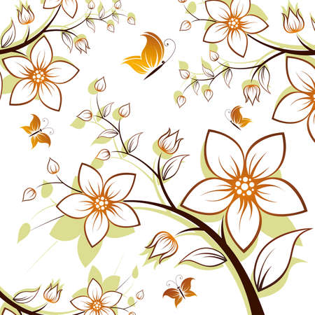 Vector flower background with butterfly isolated on white Vector