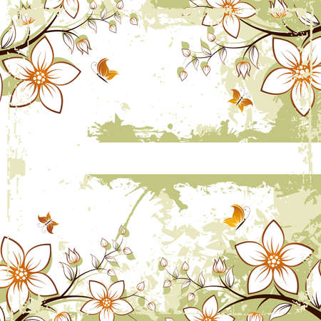 Abstract grunge floral space for your text Vector