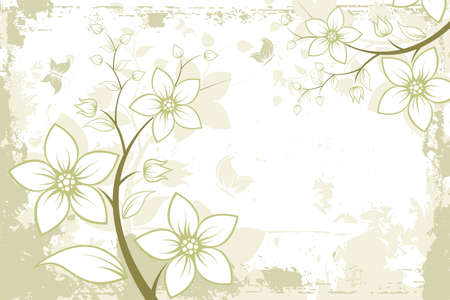 Grunge Floral Background with butterfly. Vector illustration. Abstract Pattern. Vector