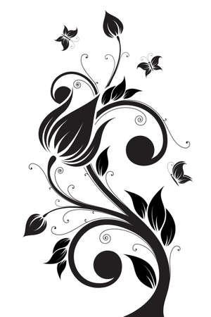 Abstract isolated Flower tree with Butterfly. Vector illustration Illustration