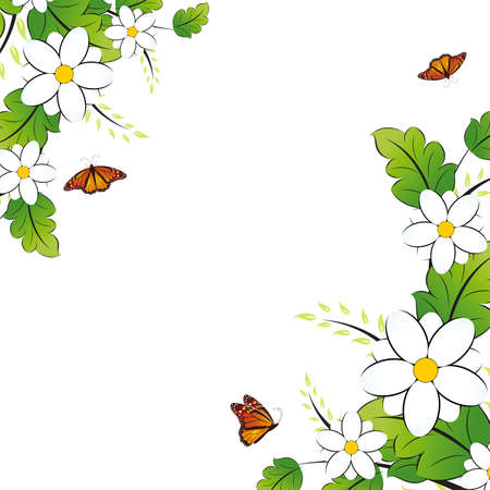 Floral background with butterfly on white. Vector illustration