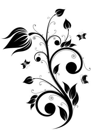 Abstract isolated Flower scroll with Butterfly. Vector illustration Vector