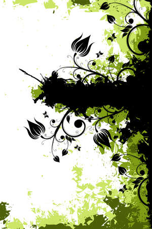 Grunge vector floral background with butterfly and copyspace Vector
