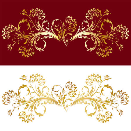vector decoration: Abstract old style ornament with flowers in gold color