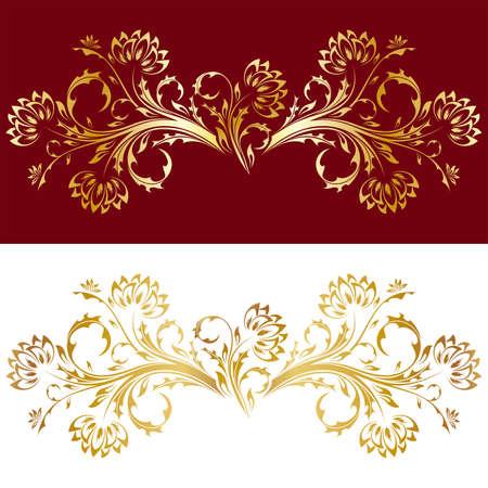 floral vector: Resumen estilo antiguo ornamento con flores en color oro