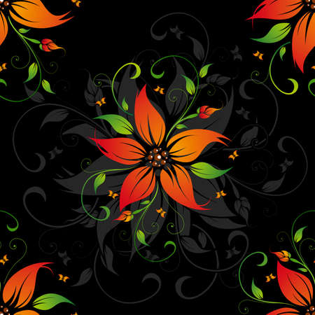 Abstract black pattern with flowers and butterflies Vector