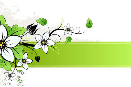 floral vector: Grunge Vector AD with spring flowers and leaves