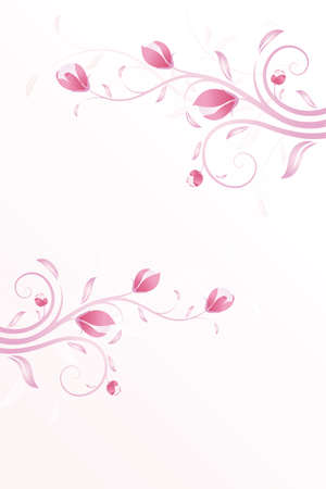 Summer Pink background with flowers and leaves Vector