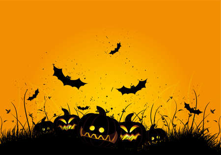 Halloween black and orange background with grass and bat Illustration
