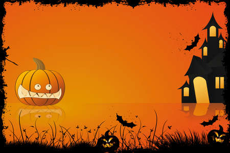 Grunge halloween frame with pumpkin in grass bat and house in background Stock Vector - 5479169