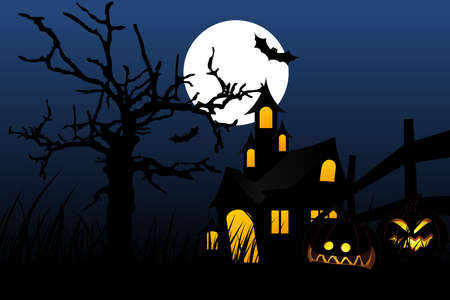 Halloween background with pumpkin in grass tree bat and house Stock Vector - 5479165