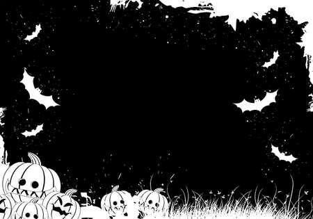 Grunge Halloween border with grass pumpkin and bat Stock Vector - 5479168