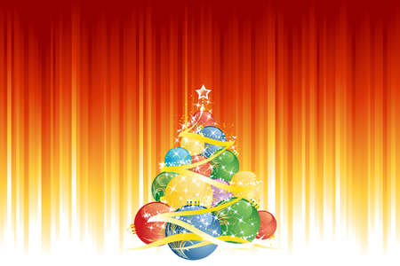 Magic Christmas ball tree and vertical red golden stripes in background Vector