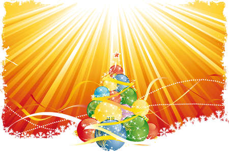 Grunge Christmas tree with red gold rays and ribbons Vector