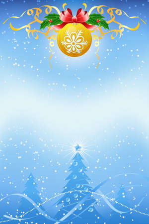 firtrees: Christmas background with ball and fir-trees