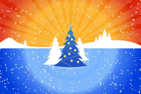 pinetree: Paisaje abstracto de Navidad con el abeto y rayos