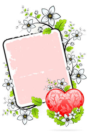 Valentines Day heart with florals and letter Vector