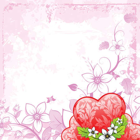 Valentines Day heart with florals on grunge background Vector