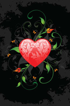 love heart: Valentines Day heart with florals on grunge background Illustration