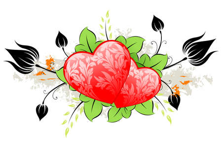 Valentine's Day heart with florals on grunge background Stock Vector - 6276427