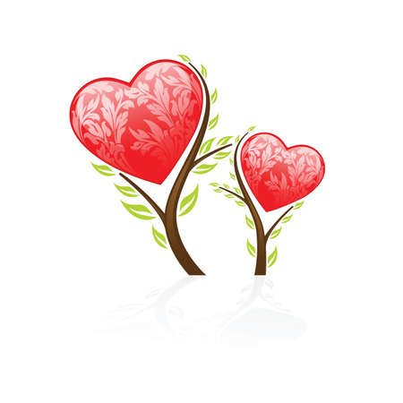 Valentines Day tree icon isolated on white background Vector