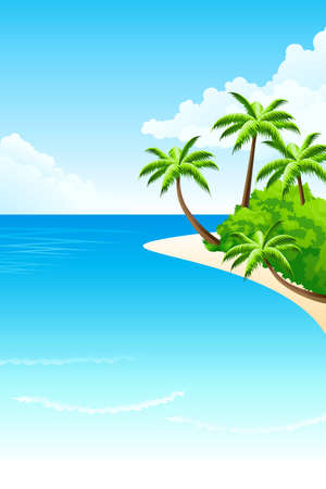 Tropical landscape with palm tree clouds and island Vector