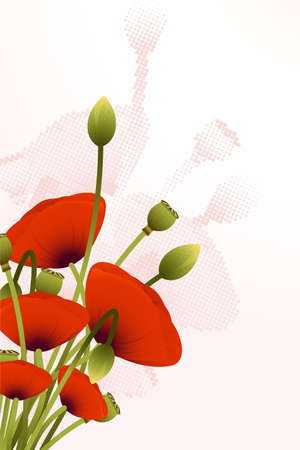 Abstract Background with red poppy flowers for your design Vector