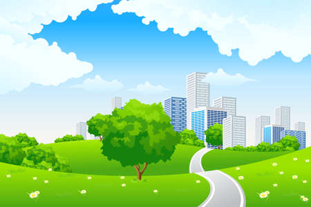Green landscape with tree road city and clouds