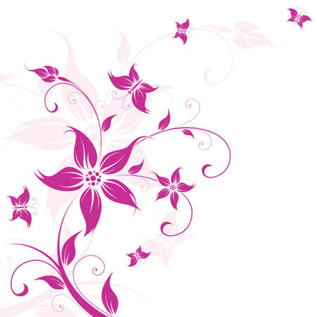 pink butterfly: Abstract Background with flowers and butterfly for your design